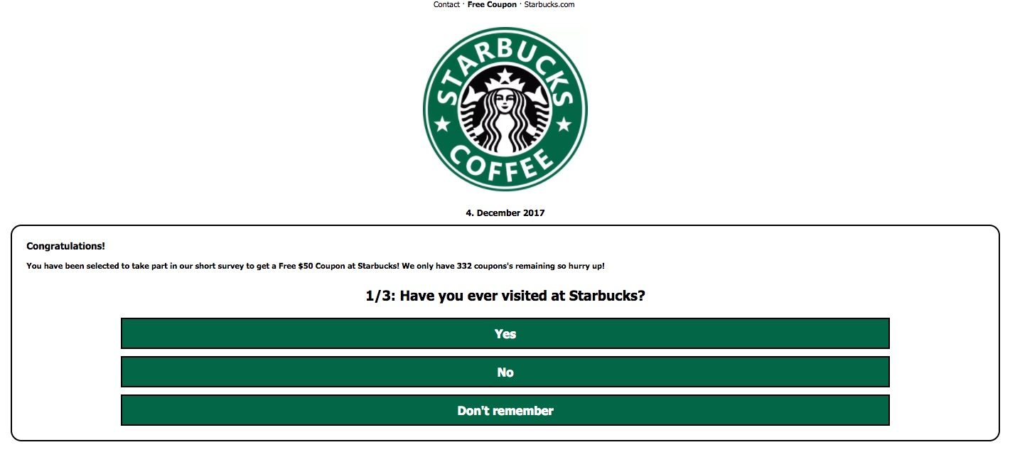 Fact check free starbucks gift card scam any combination of which would result in their purportedly winning a 50 gift card so long as the user liked shared and spread the link on facebook negle Choice Image