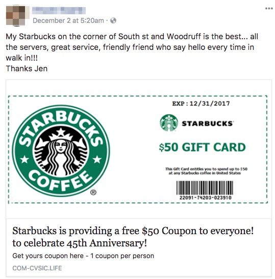 Fact check free starbucks gift card scam starbucks is providing a free 50 coupon to everyone to celebrate 45th anniversary negle Images