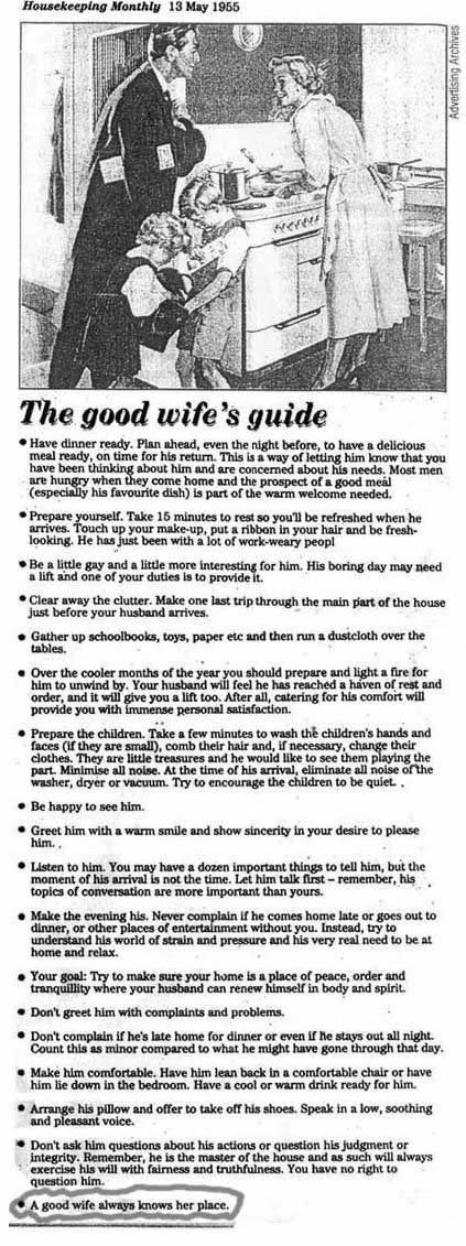 How to be a good wife the question here is whether the piece reproduced above really came from a home economics textbook is it real or is it yet another of those look how far m4hsunfo