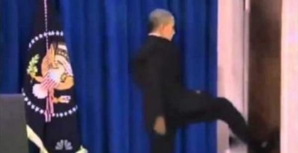 A video showing President Obama kicking in a door after a meeting with Congressional leaders is a digital fabrication. & FACT CHECK: President Barack Obama Kicks the Door In