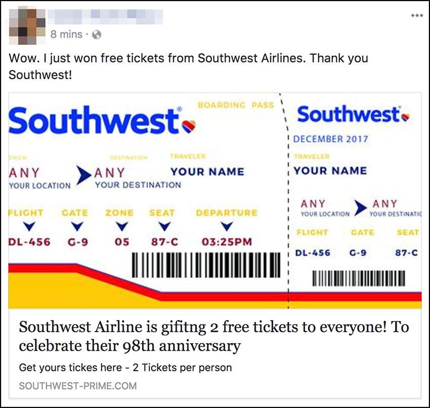 the scammers spread links via e mail and facebook that purport to offer a pair of free air travel tickets on southwest airlines to those who follow those