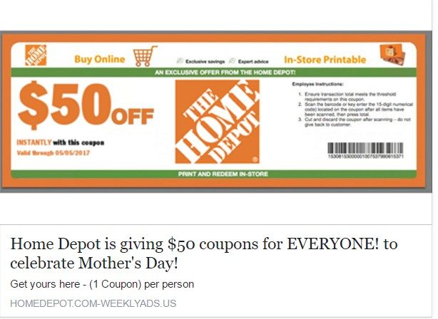 Home Depot  Scam Mothers Day