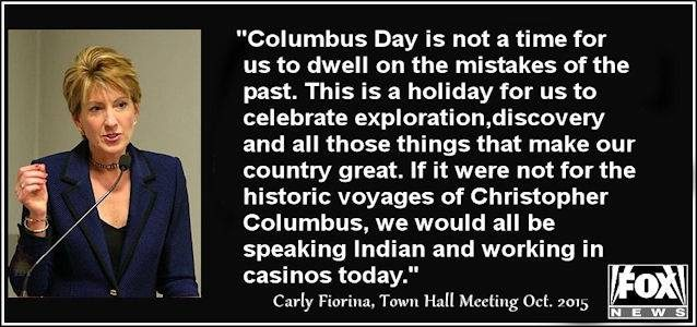 carly fiorina columbus day fact check why, carly?