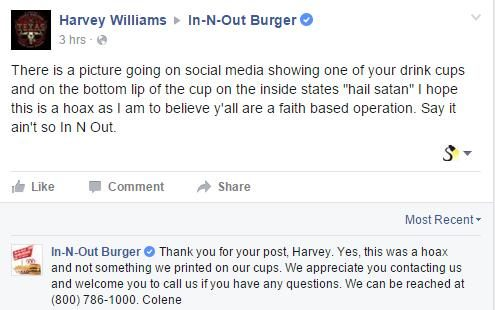 foto de FACT CHECK: Do In N Out Cups Contain 'Hail Satan' Messages?