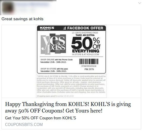 Kohl's Thanksgiving Coupon Scam