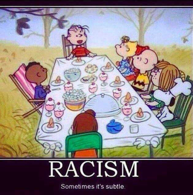 Fact check youre a racist charlie brown was himself a racist for sitting franklin the shows only black character by himself on the opposite side of the table from all the other characters bookmarktalkfo
