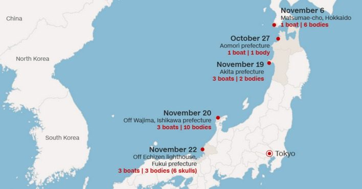 Korean Ghost Ships Wash Ashore In Japan - Japan map bodies of water