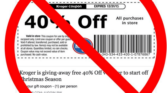 kroger is not giving away free grocery coupons or gift cards to facebook users who like and share a post