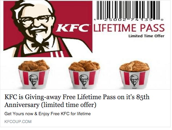 free lifetime pass KFC