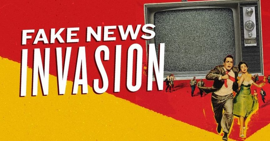 """Two people running from a television screen with caption """"Fake News Invasion"""""""