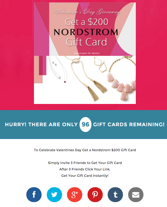 False Nordstrom Giving Away 200 Gift Card