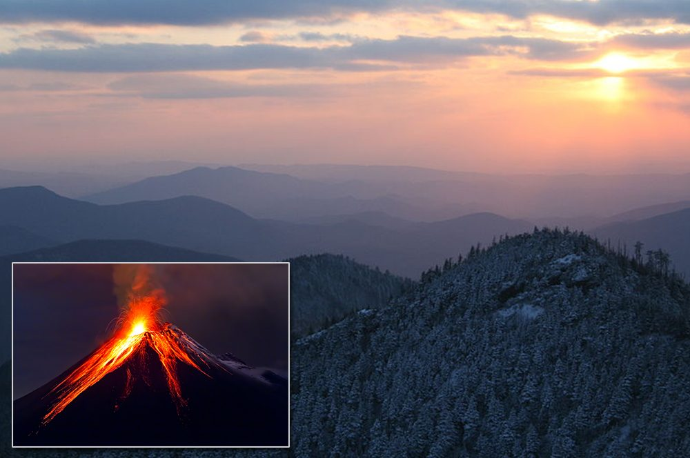 Photo-of-an-erupting-volcano-embedded-in-a-scenic-photo-of-the-Great-Smoky-Mountains