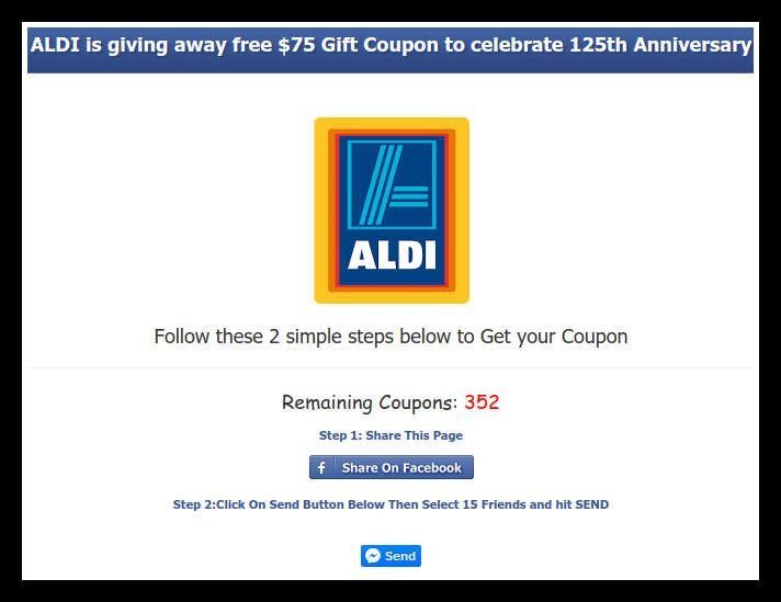 Scam free aldi 100 coupons scam aldi has a coupon for 60 off a minimum 70 purchase aldi has verified this is a scam but people are sharing it all over facebook fandeluxe Gallery