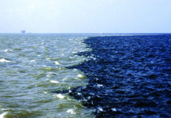 two rivers meet but never mix chemicals