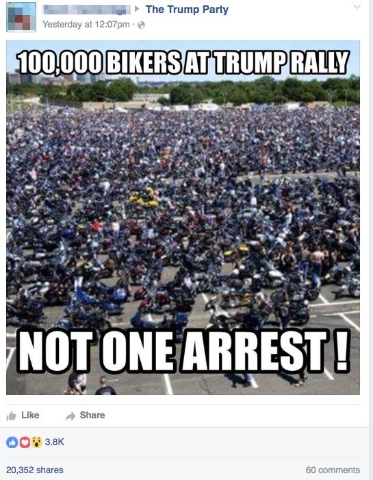 bikers at trump rally not one arrest