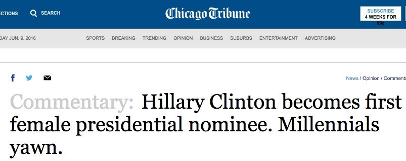 Hillary_Clinton_becomes_first_female_presidential_nominee__Millennials_yawn__-_Chicago_Tribune