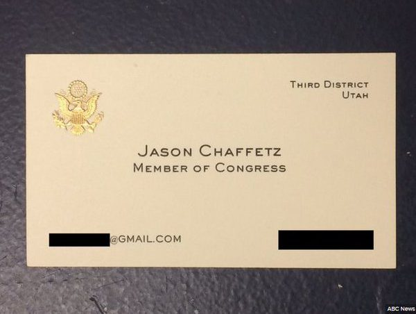 Rep jason chaffetzs business card surfaces during comey hearing fbi director james comey announced the bureau was not recommending charges against hillary clinton for her use of a private server and e mail account colourmoves