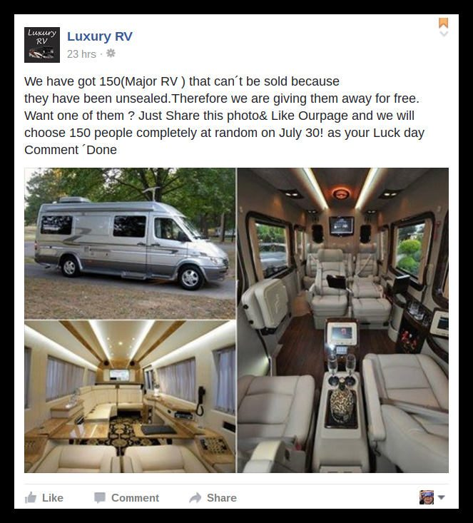 snopes facebook giveaway fact check scam luxury rv giveaway 9343