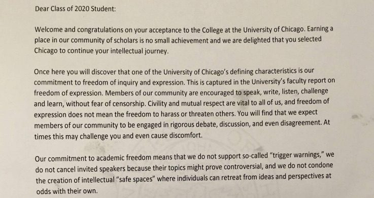 University Of Chicago Issues Trigger Warning About Trigger Warnings