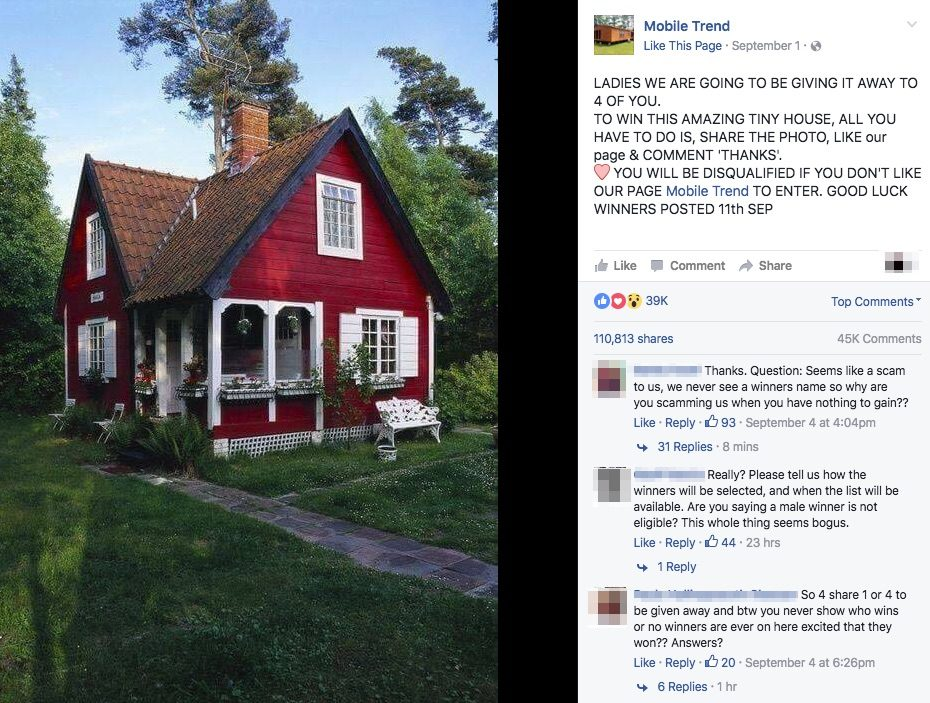 snopes facebook giveaway fact check tiny house giveaway 5936