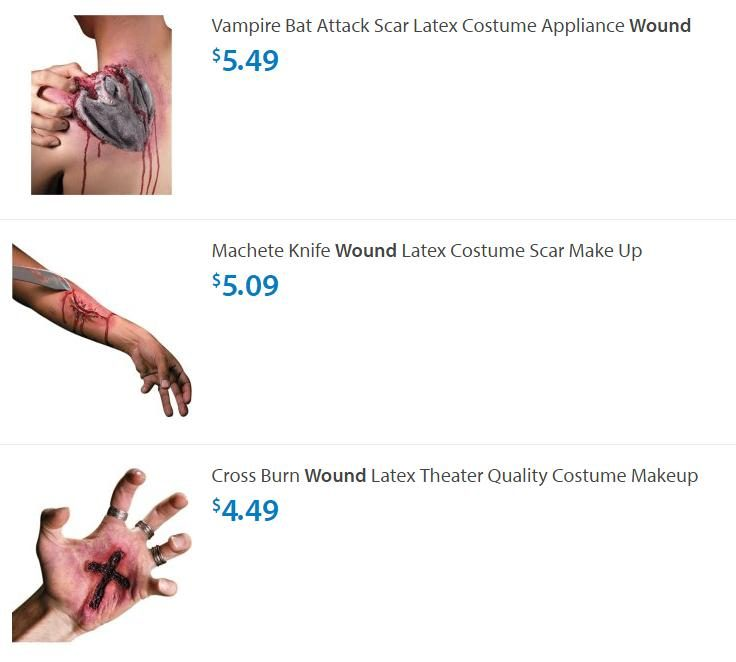 one popular type of costume accessory sold by walmart and other vendors is latex applications that simulate wounds inflicted by gunshots knives machetes