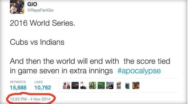 2014 Tweet Predicted Cubs-Indians Extra-Inning World Series?