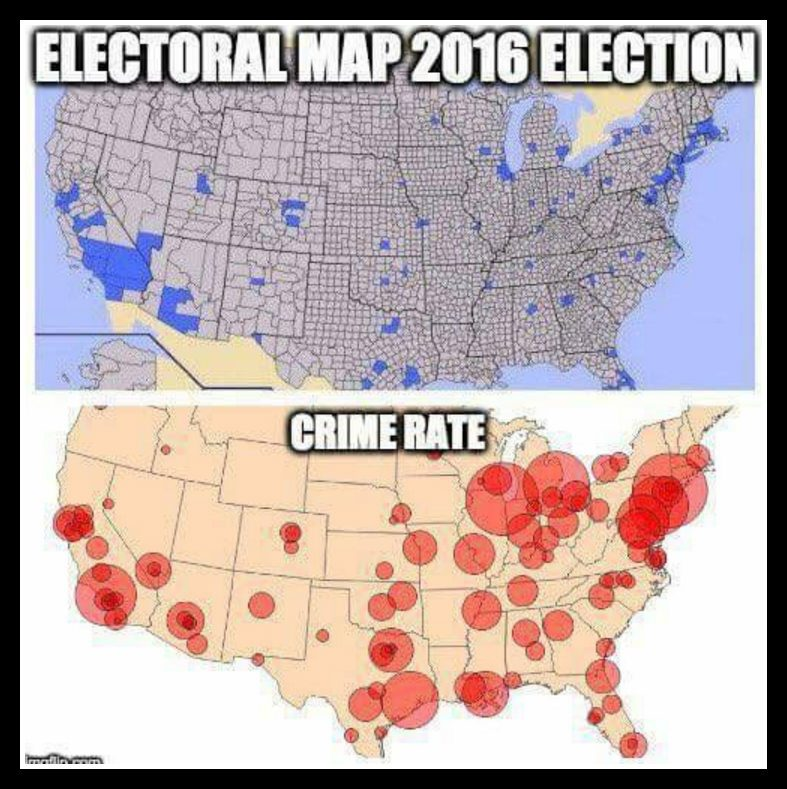 Maps Show High Crime Rates Where Democrats Vote - 2016 us counties election map meme