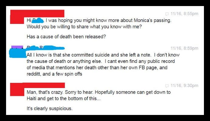 monica peterson suicide claim