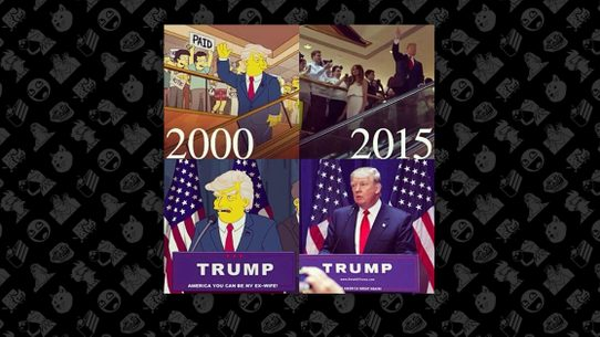 Images From The Simpsons Showing Donald Trumps Announcement Of His Presidential Candidacy Are 2015 Not 2000