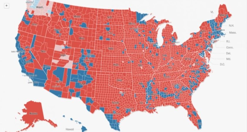 Fact Check Did Trump Win 3084 Of 3141 Counties Clinton Only 57 - Map-of-us-counties-2016-election
