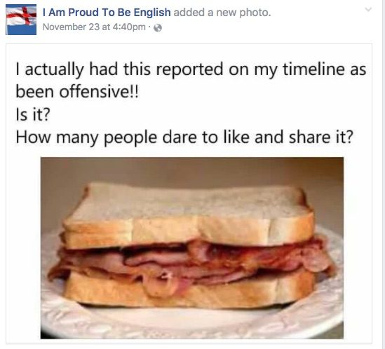fact check bacon sandwich reported as offensive on facebook