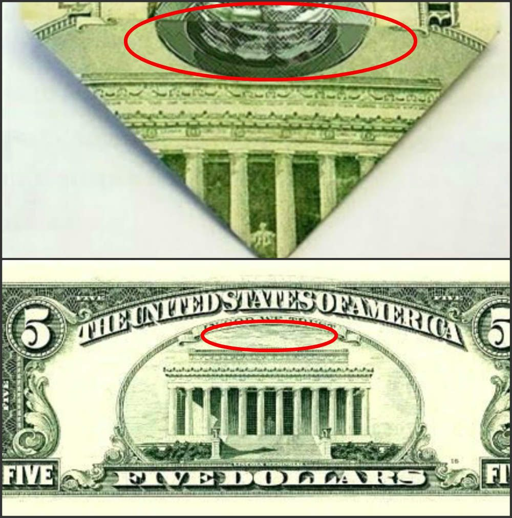Fact check secret pancakes on 5 bill the conspiracy curious have found numerous symbols on the backs of various american currency notes by folding bills in specific patterns biocorpaavc Images