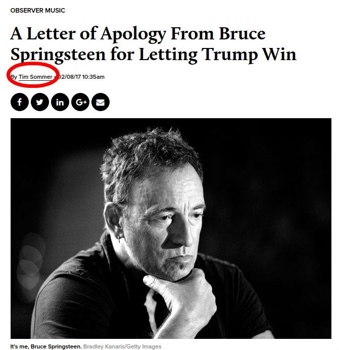 FACT CHECK Did Bruce Springsteen Pen a Letter Apologizing for