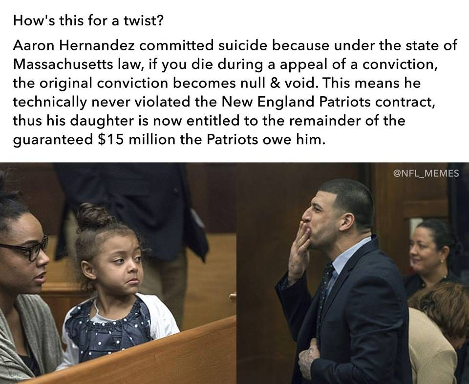 aaron hernandez committed suicide massachusetts law contract 15 million fact check will aaron hernandez's family receive $15 million from