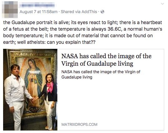 NASA has called the image of the Virgin of Guadalupe living