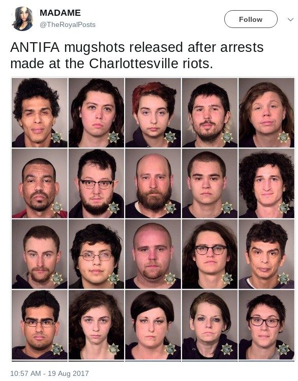 are these the mugshots of antifa members arrested at charlottesville