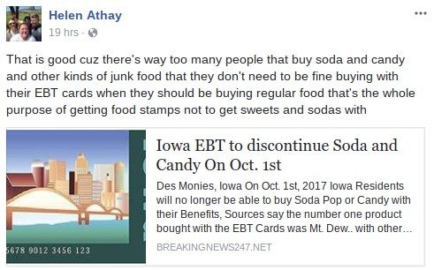 Fact check iowa to discontinue soda and candy for ebt recipients this rumor originated on the web site breakingnews247 a prank web site that allows users to generate their own fake yet effectively convincing ccuart Images