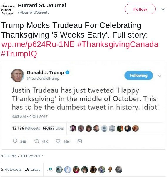 burrard street journal the web site behind the false story also posted a screenshot purportedly showing trumpu0027s mocking tweet