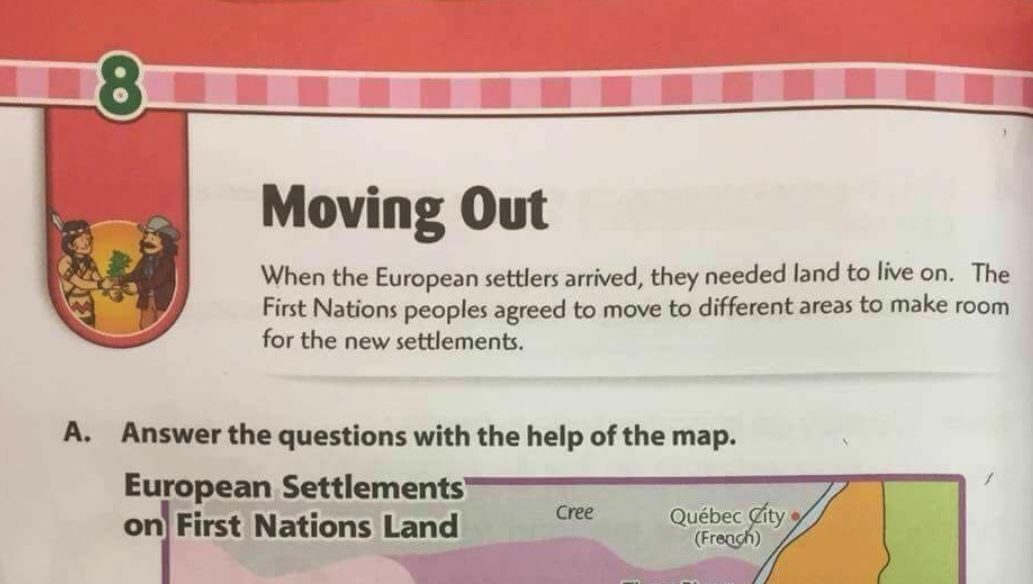 Did A Childrens Textbook Say Canadas First Nations Moved To Make
