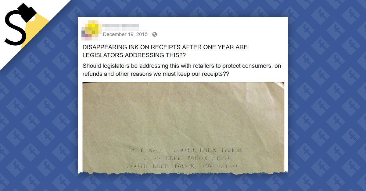 FACT CHECK: Are Retailers Using 'Disappearing Ink' on Receipts to Discourage Returns?