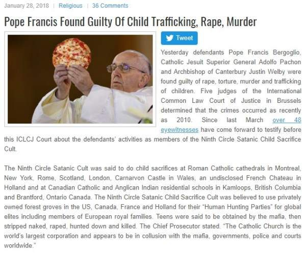 Pope francis child trafficking