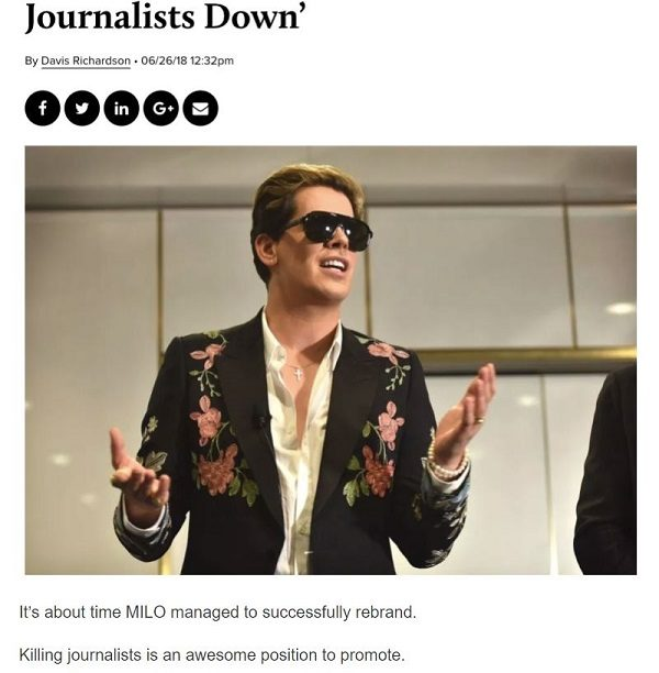 Milo Yiannopoulos says he was joking about 'gunning down journalists'