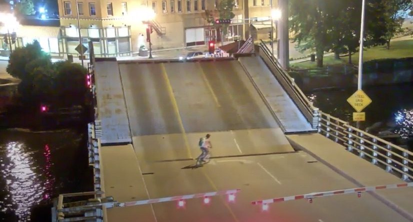 Bicyclist Versus Lift Bridge. What Could Possibly Go Wrong?