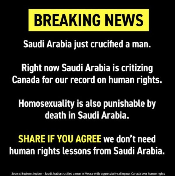 A Canadian tweet in a Saudi king's court crosses a red line