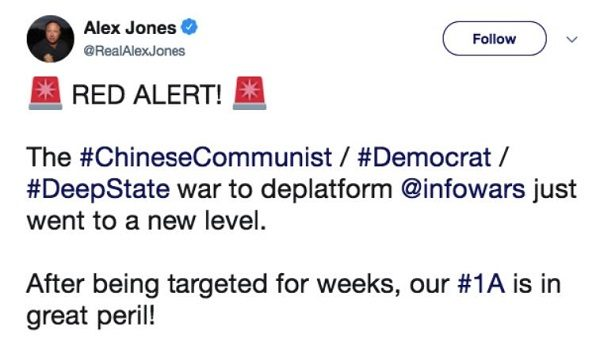 Twitter suspends Alex Jones for a week for inciting violence