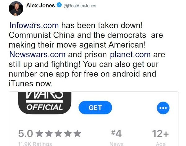 Twitter gives InfoWars the same one-week ban it gave Alex Jones