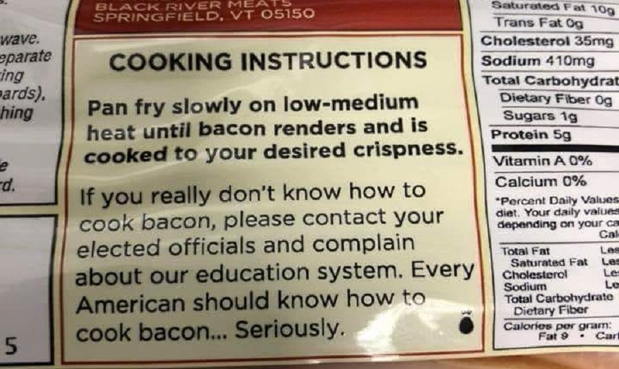 FACT CHECK: Does This Photograph Show the Cooking Instructions on a Bacon Package?