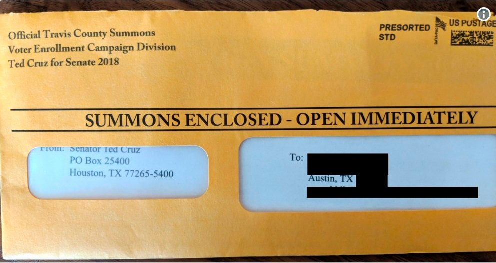FACT CHECK: Did Ted Cruz's Campaign Send Fundraising Mailers That Resemble Legal Summonses?