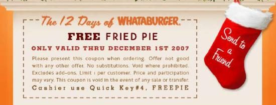 The 12 Days of Whataburger' Coupons