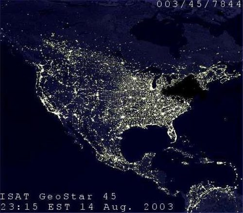 North American Blackout - World satellite night view